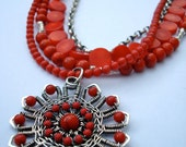 Coral and silver multistrand necklace