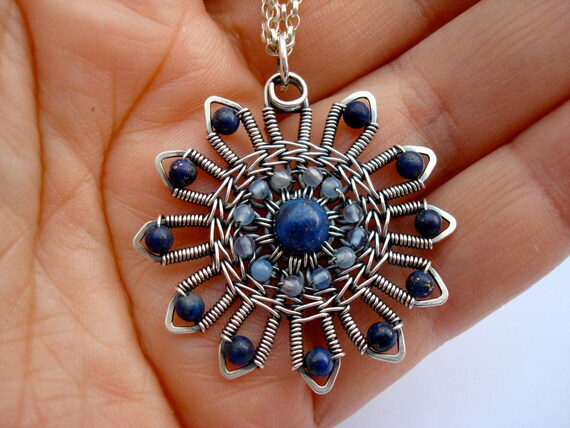 Lapis Blossom sterling and fine silver and lapis lazuli necklace