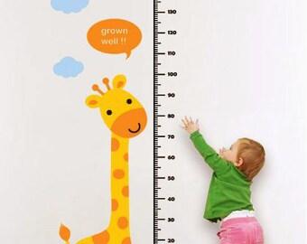children wall decal giraffe wall decal animals wall decal boy vinyl wall sticker kids decal - Giraffe and Children Growth Chart