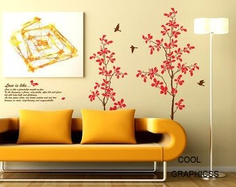 Two Love Trees -Vinyl Wall Decal Sticker Art, Mural,Wall Hanging
