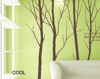 Large Winter Trees - Four Trees 102 inches -Vinyl Wall Decal Sticker Art,Wall Hanging, Mural