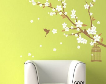 blossom Branch with decorative bird cage  -Vinyl Wall Decal Sticker Art