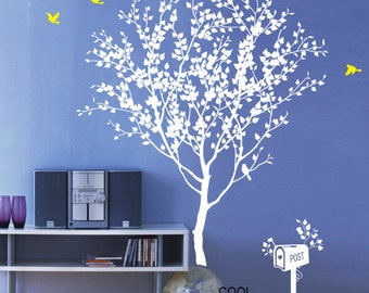Love Tree  - wall decal branch trees wall decals birds birdcage  wall decals child nursery  wall sticker wall decor home decor