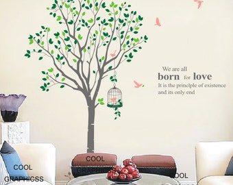 Large Spring Tree with 2 colors leaves -82 Inches tall - Vinyl Wall Decal Sticker Art