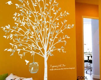 Tree with birds and cage- Vinyl Wall Decal Sticker Art for living room, bedroom