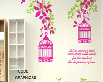 Beautiful branches with decorative birds cage -Wall Decal Vinyl Sticker Art
