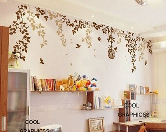 Spring Branches and Bird Cage( two colors ) -Vinyl Wall Decal Sticker Art,Wall Hanging, Mural