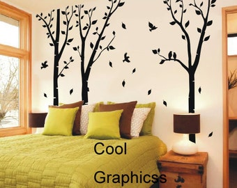 Birch Trees Forest - vinyl wall decals tree wall sticker, nursery bedroom children wall decor, home decor wall hanging , birds decal branch
