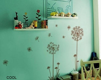 Dandelions in the Wind - White Green Vinyl Wall Decal Sticker Art for bedroom,living room