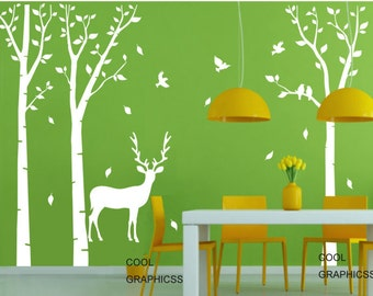 Deer in the Birch Tree Forest - Vinyl Wall Decal Sticker Art, Mural,Wall Hanging