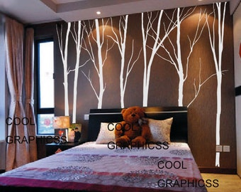 wall decal trees vinyl wall sticker wall decal children wall decal bedroom wall decal nursery white trees wall decal - 7 Large Winter Trees