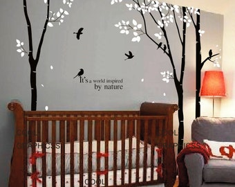 trees wall decal office wall decal flying birds wall decal children wall sticker Art  Mural Wall Hanging wall decor- 3 Birch Trees set