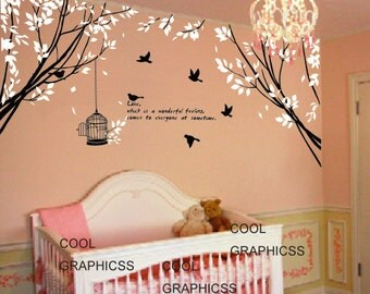branch wall decal nursery wall decal bedroom decal children wall decal - Two Branch Corner with Flying Birds and Quote