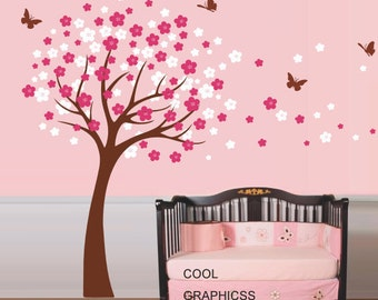 Wall Decals Flowers Tree wall decal girl nursery wall decals children wall decals kids baby bedroom wall decals butterfly