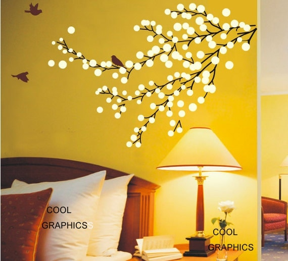Beautiful Floral Branch -Wall Decal Vinyl Sticker Art