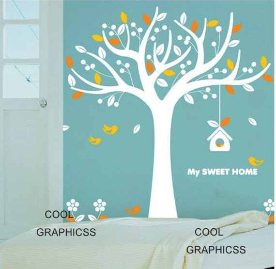 My Sweet Home - Cute tree with birds and bird house -Vinyl Wall Decal Sticker Art for children room,girl nursery