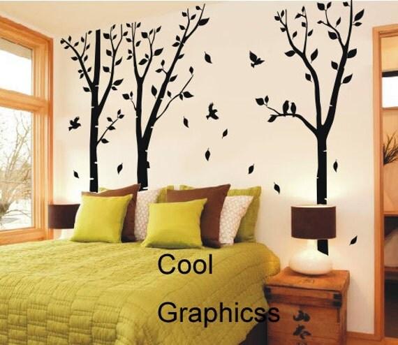 Birch Trees Forest - vinyl wall decals tree wall sticker, nursery bedroom children wall decor, home decor wall hanging , birds decal branch