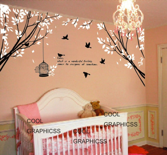 Wall Decal Branch Wall Decal Quote Wall Decal Nature Wall Decal Nursery  Vinyl Sticker   Two Branch Corner With Flying Birds And Quote Part 69
