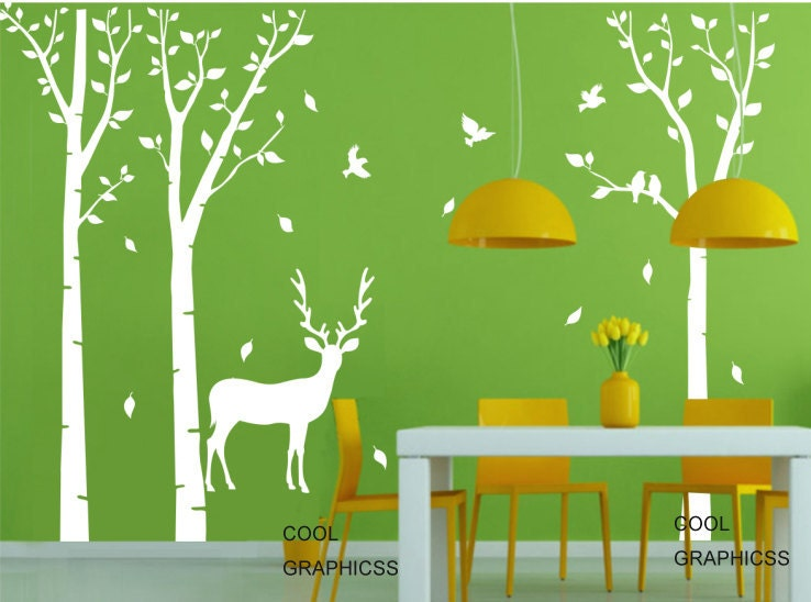 Deer in the birch tree forest vinyl wall decal by for Birch tree forest wall mural