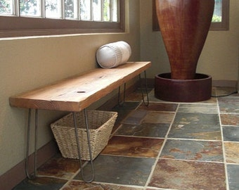 25% OFF SALE - Modern Reclaimed Rustic Wood Plank Bench with Vintage Eames Style Hairpin Legs