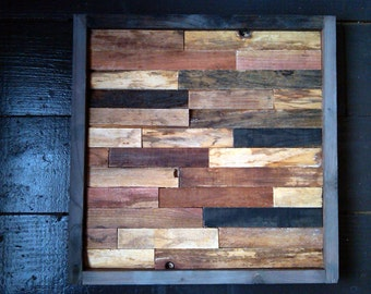 25 % OFF SALE - Modern Reclaimed Barnwood Art Wall Sculpture - 12x12