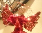 Christmas Tree Topper - Christmas Decor - Holiday Decor - Elegant Red & Gold Tree Topper