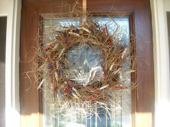 Summer Wreath - Grapevine Wreath - Fall Decor - Rustic Curly Ting - Cattail - Brown, Rust ,Cream, Deep Red & Lavender