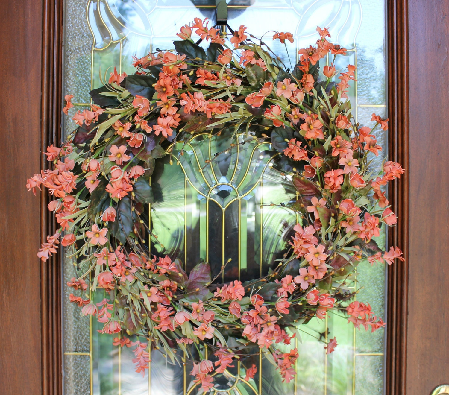 Spring wreath spring flowers spring door wreath grapevine for How to make door wreaths for spring