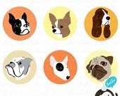 digital printable button clip art- vintage dog