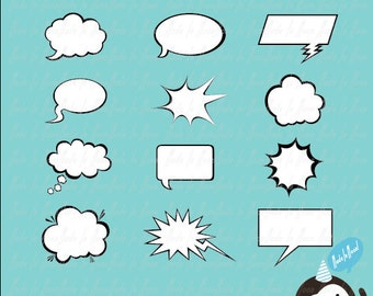 12 Speech Bubbles Clip Art 01