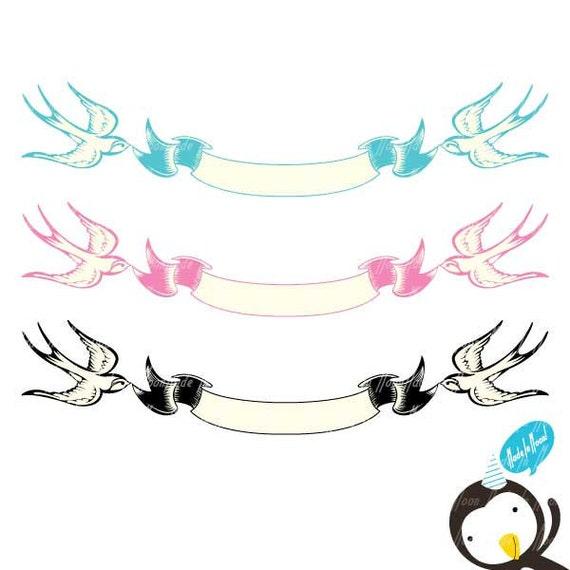 Swallow ribbon banner clip art