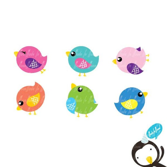 Cute Birds Clip art 01