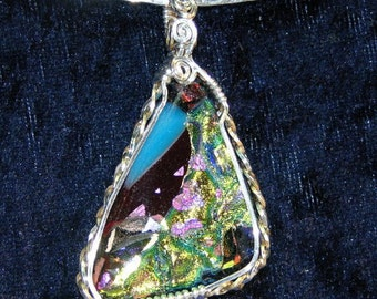 Dichroic Glass Sterling Silver Wire Wrapped Pendant