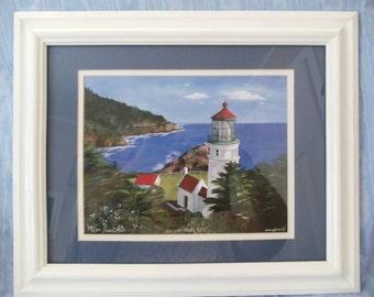 "11""x14"" White Framed Print of Heceta Head Lighthouse In Oregon"