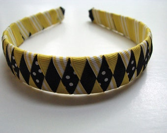 Woven Ribbon Headband in Yellow and Black 1 in.