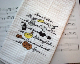 Cookie Recipe...Embroidered Kitchen Towel