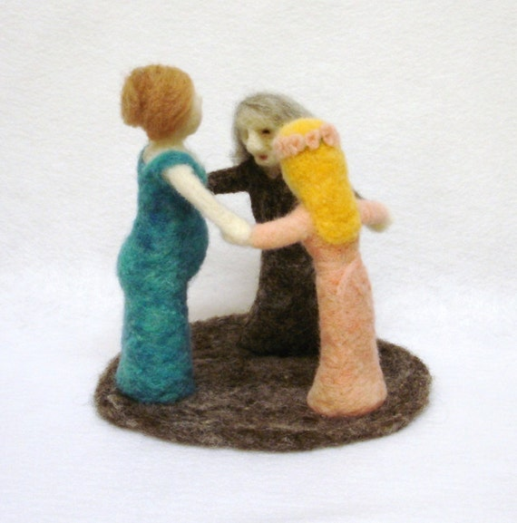 Life's Triad - maiden, mother, and crone goddess needle felted sculpture - three phases of life - in stock and ready to ship