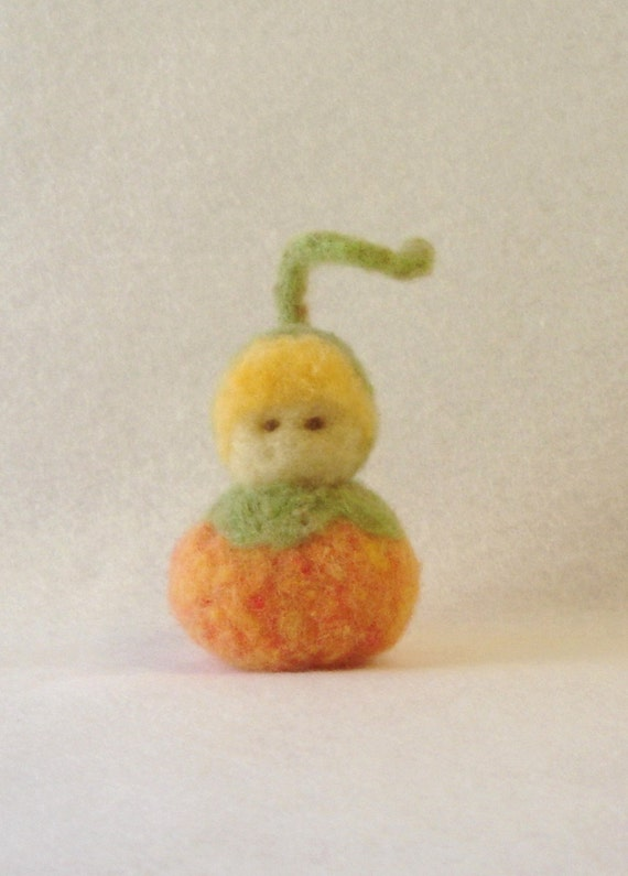 Needle Felted Pumpkin Child Waldorf Style - in stock and ready to ship