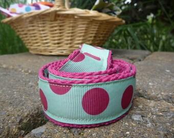 Preppy Kids Belt Pink and Green Polka Dot D ring