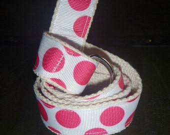 Girls Preppy Polka Dot Belt Hot Pink White and Cream