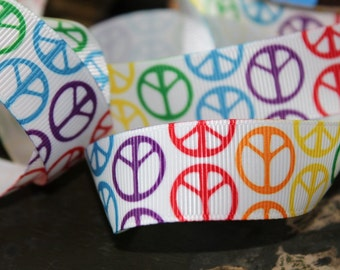 Peace Sign Ribbon 7/8 inch, PEACE SIGN Grosgrain Rainbow Ribbon Craft Ribbon Peace Sign Ribbon Hair bow Supply Craft Ribbon