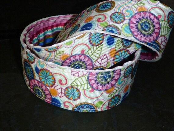 """Reversible Ribbon Belt Stripes and Flowers Ladies or Teens 1.5"""" Wide"""
