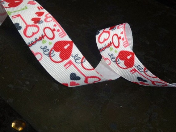 Valentines Day Heart Print Ribbon 7/8 inch 3 yards