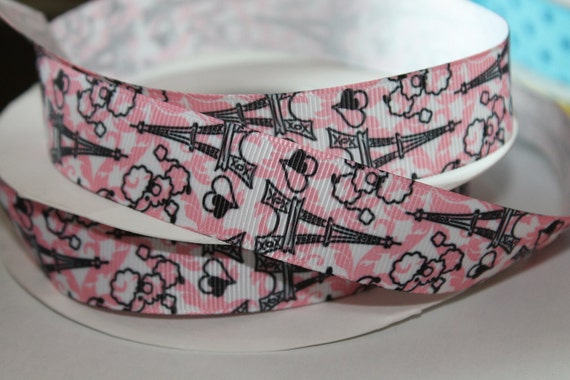 "Paris Ribbon French Poodle Eiffel Tower  7/8"" wide Pink PAris Grosgrain Ribbon Poodle Ribbon Pink Poodle Ribbon Novelty Grosgrain"