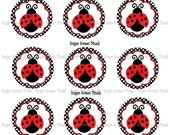 INSTANT DOWNLOAD Fancy Ladybug  Digital  1 inch Circle Bottlecap Images 4x6 sheet
