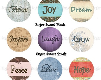 INSTANT DOWNLOAD Inspirational Phrases 1 inch Circle Bottlecap Images 4x6 sheet