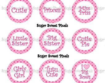 INSTANT DOWNLOAD Pink Polka Dot Girly Sayings 1 inch Circle Bottlecap Images 4x6 sheet