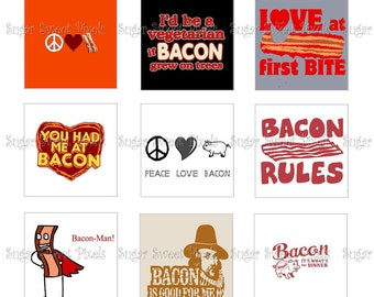 INSTANT DOWNLOAD I Love Bacon Inspired Digital 1 inch Square Images 2 4x6 sheets