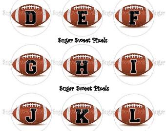 INSTANT DOWNLOAD Football Alphabet 1inch Circle Bottlecap Images 4x6 sheet