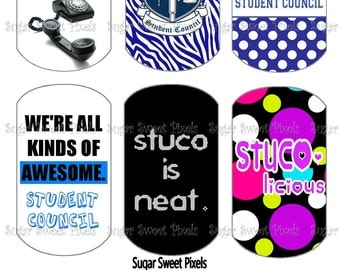 INSTANT DOWNLOAD Student Council Inspired Digital Dog Tag Images 4x6 sheet